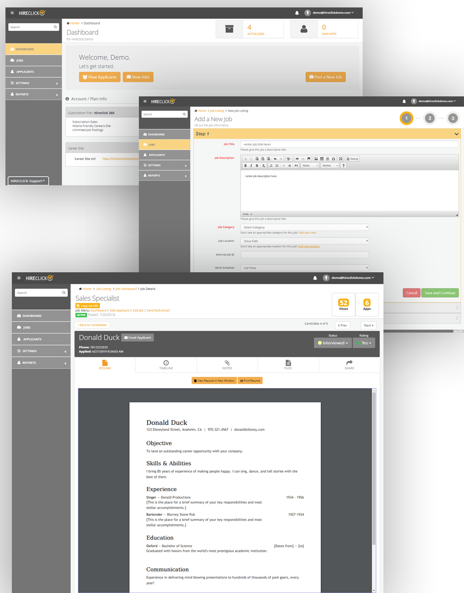 Hireclick employer dashboard